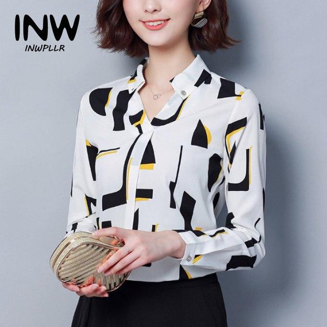 aec6ef92da1 Women Chiffon Blouse Shirt 2019 Female Blouses Geometric Pattern Blusas  Mujer Long Sleeve Office Shirts Plus Size Print Tops