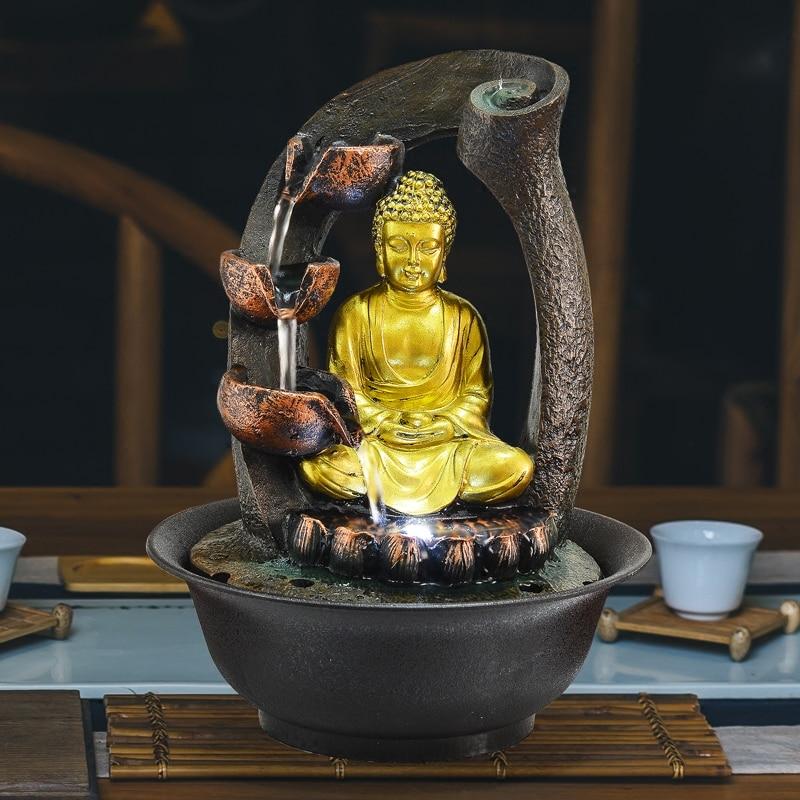 Bouddha Statue fontaines décoratives intérieur fontaines d'eau résine artisanat cadeaux Feng Shui bureau maison fontaine 110 V 220 V E