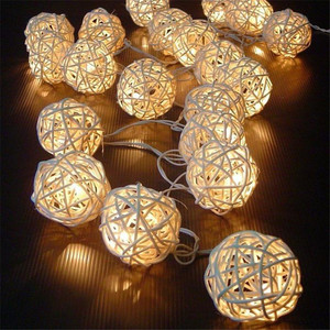 20 LED Warm White Rattan Ball Fairy String Lights For Christmas Hanging Pendant Outdoor Patio Garland Wedding Decoration(China)