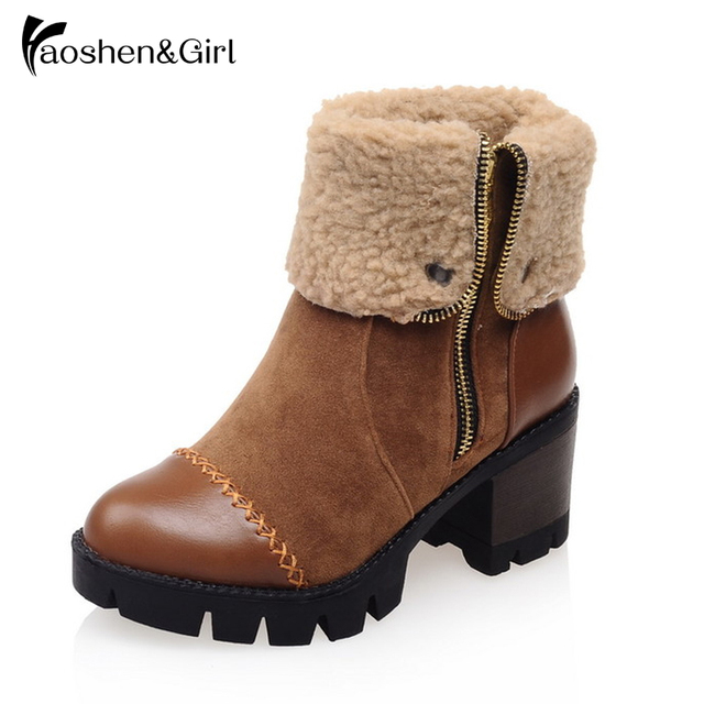 Haoshen&Girl Women Ankle Boots Square Heels Shoes Short Fur Zipper Boot Leisure Platform Shoes Boots Round Toe Footwear G169