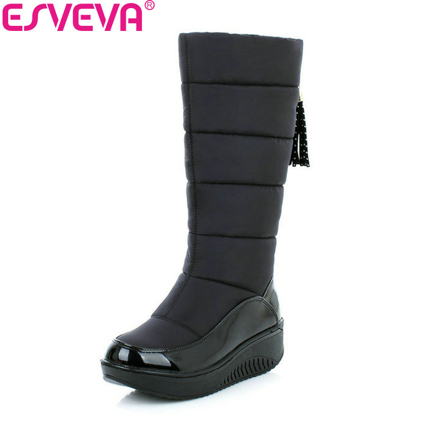 ESVEVA 2018 Women Boots Cold Winter Warm Plush Snow Boots Fashion Platform Med Heel Mid-Calf Boots Ladies Boots Size 35-40 ekoak new 2017 winter boots fashion women boots warm plush mid calf boots ladies platform shoes woman rubber leather snow boots