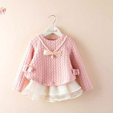 цены Girls Dress Fall autumn Long sleeve Tutu dress Children Clothes Casual Wear dress Baby Cute fashion bow dress with NecklaceDR073