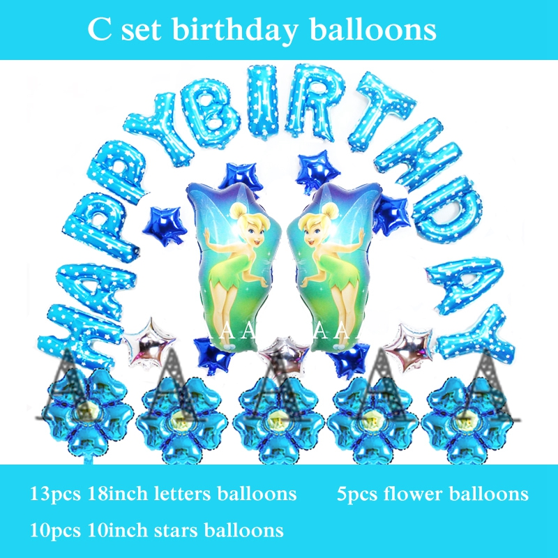 30pcs/lot happy birthday balloons set foil material princess fairy balon tinker