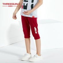 THREEGUN X Disney Mickey Mouse Children Pants Boys Girls Sweatpants Cropped Sping Summer Cotton Childrens Wear