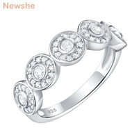 Newshe Circle Round Cut White AAA Cubic Zirconia 925 Sterling Silver Wedding Engagement Rings For Women Trendy Jewelry