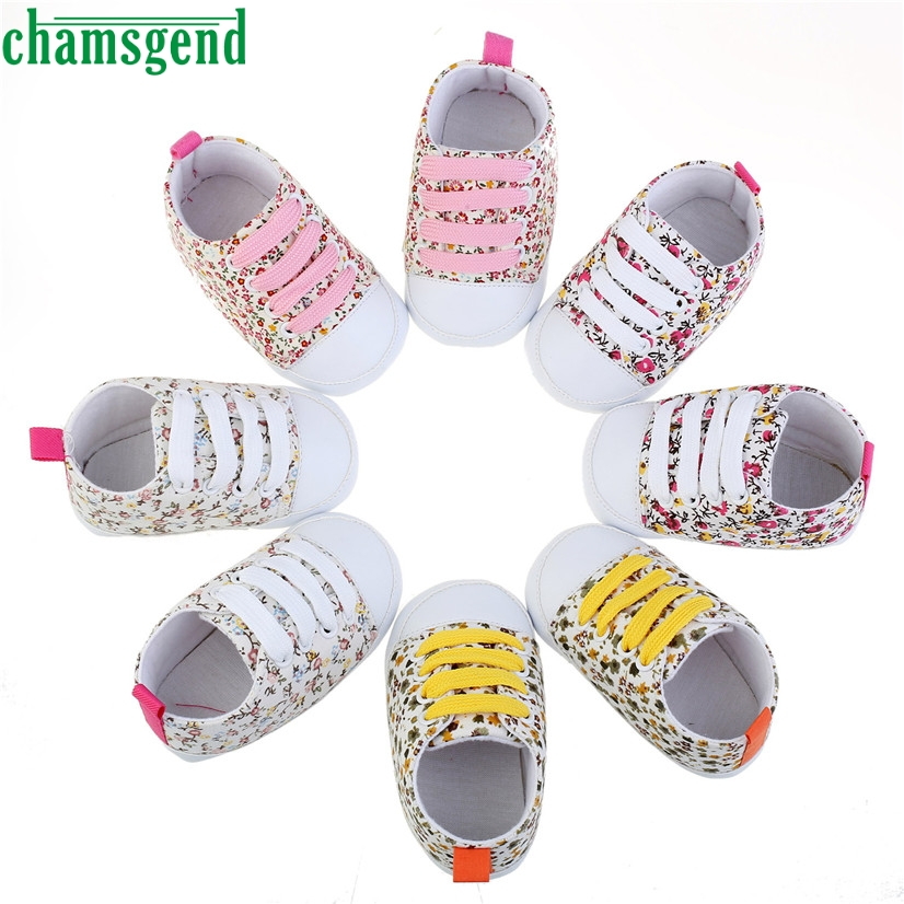 CHAMSGEND Best Seller baby shoes cute lovely autumn winter Toddler Soft Soled Anti-slip Baby Canvas Floral Shoes S40