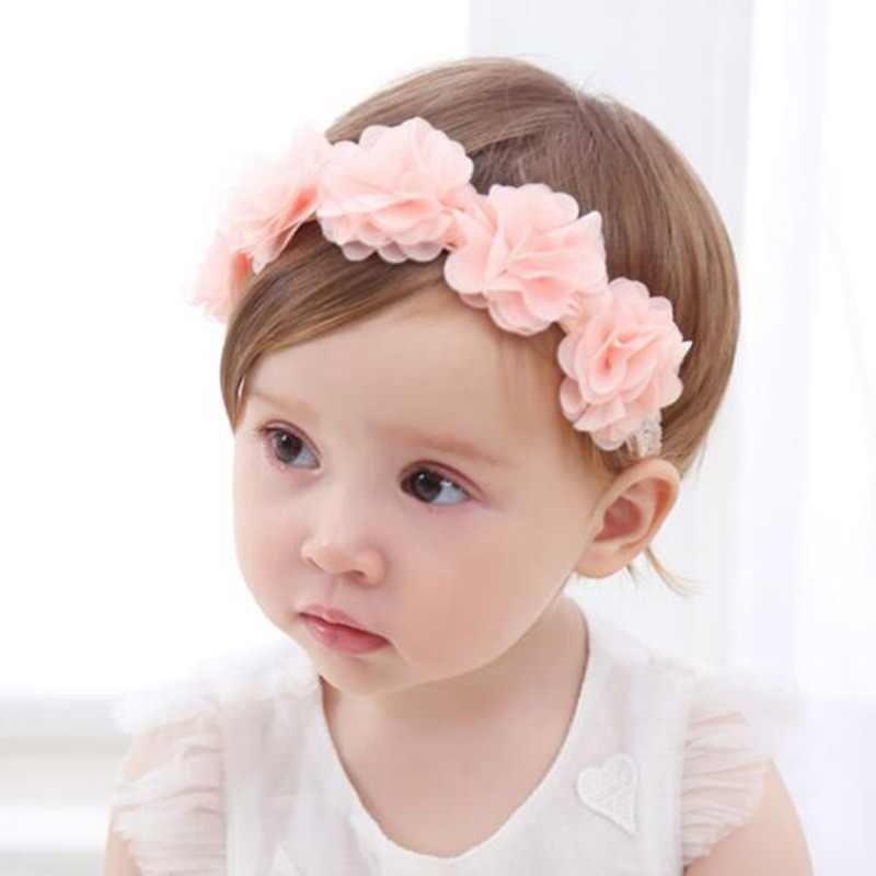 5e5f2a61631 New Baby Flower Headband Pink Ribbon Hair Bands Handmade DIY Headwear Hair  accessories for Children Newborn