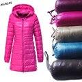 S~6XL 2016 Winter Women Duck Downs Jacket Coat Slim Parkas Ladies Coat Long Hooded Plus Size Ultra Light Outerwear LJ4236