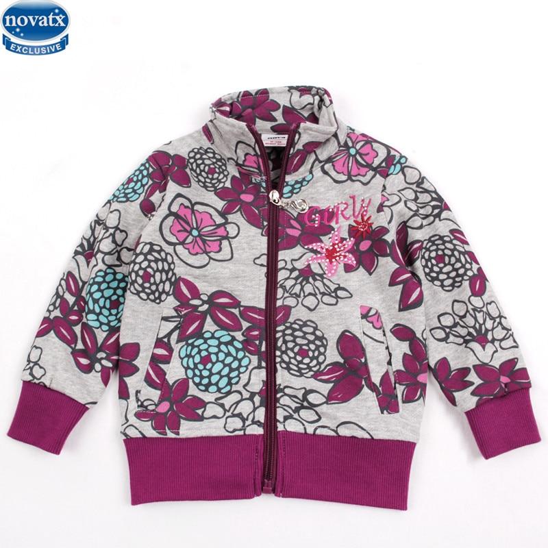 novatx F3563 new girls jacket kids clothes girls winter jackets flower pattern hot sale children coat baby girl fashion winter