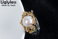 Uglyless Real 925 Sterling Silver Exaggerated Women Natural Pearl Rings Personalized Luxury Palace Colorful Crystals Ring Bijoux