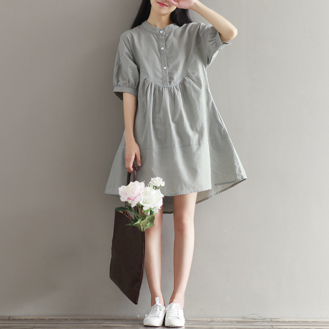 bfcae08cac81851 2016 летнее Новое Женское платье большого размера, свободное хлопковое и льняное  белое платье Mori Girl