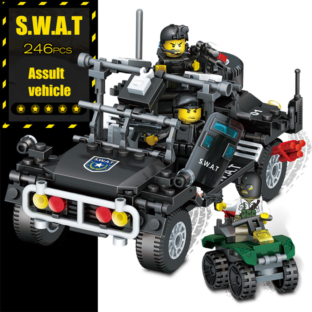 246pcs GUDI SWAT Police Station Assault Car Regimental Police MOC Building Blocks Bricks Compatible With Legoe City Toy For Kids