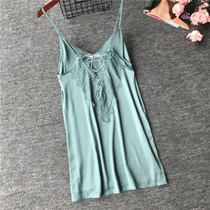 2019 Summer Nightwear Lace Women   Sleepshirts   V-Neck Sexy Lingerie Satin Nightdress Backless   Nightgowns   Sleepwear Nigthsuits