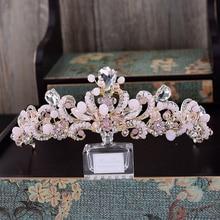 Sweet Pink Crystal Bridal Headpiece Chain Wedding Rhinestone Flowers Tiara Crown Headband Gold Bridesmaid Hair Jewelry