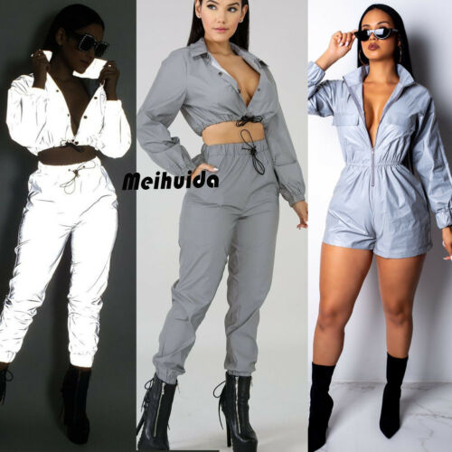 Women Casual Fashion Moto&Biker Style Crop Tops Pants Sets Two Piece Jumpsuit Playsuit Casual Reflective Outfits