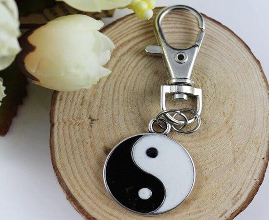 Vintage Silver Enamel Yin Yang Charms Lobster Clasp Keychain Ring For Keys Car DIY Bag Key Chain Handbag DIY Jewelry Hot A306