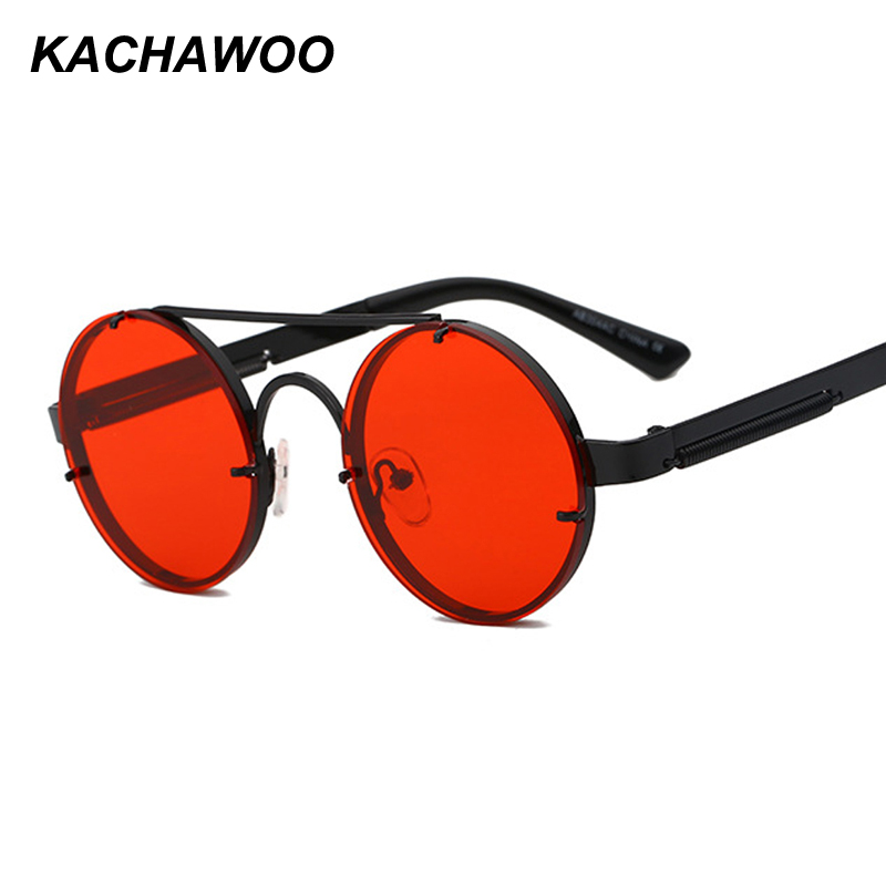 d31c79ba46 Kachawoo retro round sunglasses men red lens gold black metal frame vintage  round sun glasses for women 2018 summer
