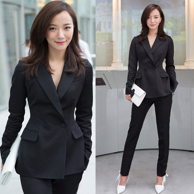 2019 Autumn Professional Suit Female Classic Temperament Fashion Slim Double-breasted Jacket OL Suit Formal Wear Overalls formal wear