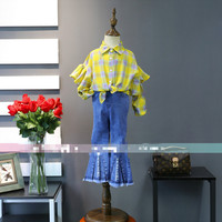 Girls Shirts In The Spring Of 2018 New Children Long Sleeved Shirt Frill Bright Colors Plaid