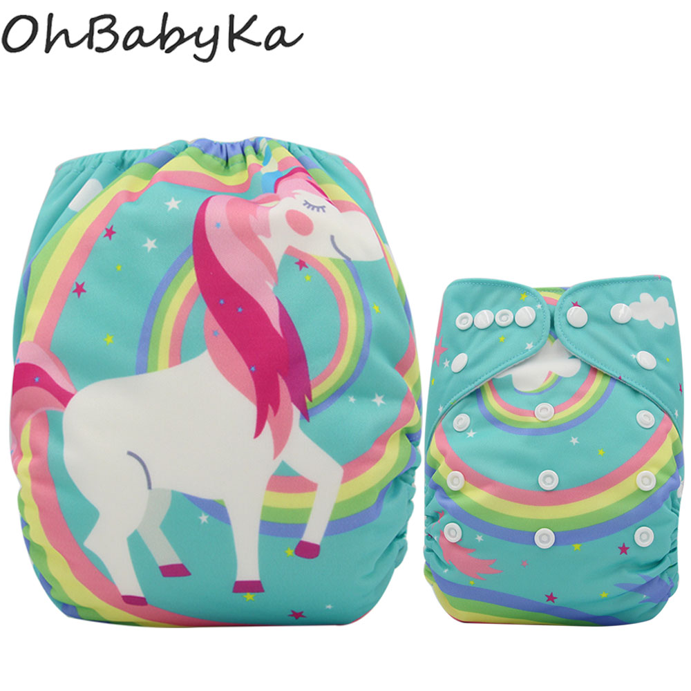 Ohbabyka Baby Diapers Reusable Suede Pocket Cloth Diaper Cover Unicorn Print Washable Diapers Baby Diaper One Size Adjustable