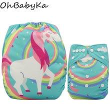 Pañales de Bebé Ohbabyka Pañal de Bolsillo de Gamuza Reutilizable Cubierta de Pañales Unicornio Pañales de Bebé Lavable Pañal de Un Tamaño Ajustable