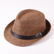 Men's Straw Jazz cap Casual Panama Sun Hats for Men Summer Fashion Beach Hat for Male Fedo