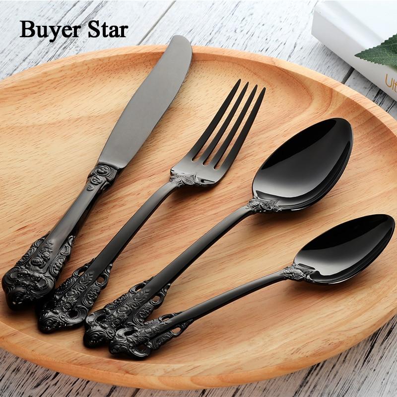 Flatware Set Retro Cutlery Set 24 Pieces Black 18 10 Stainless Steel Golden Metal Knife Fork