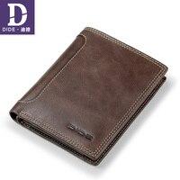 DIDE Hasp Zipper Coin Wallet Men Short Standard Wallet Genuine Leather Male Purses Men Wallets Vintage Style 3 Fold