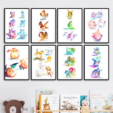 Pikachu Charmander Pokemon Anime Pocket Nordic Posters And Prints Wall Art Canvas Painting Wall Pictures Baby Kids Room Decor(China)