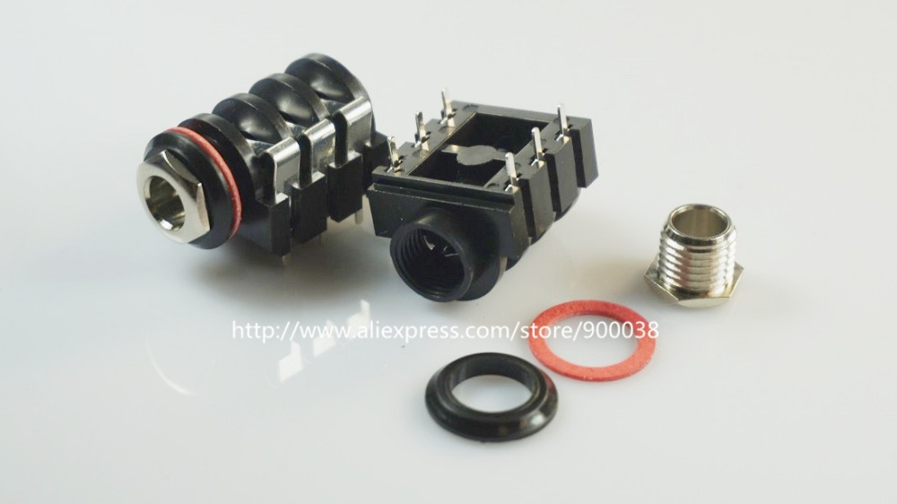 """500pcs 1/4"""" 6.35 mm stereo phone Jack socket Headphone Connector 3 conductor 6 contact through hole right angle 3 switch bushing"""