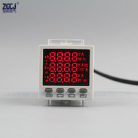48*48*80mm mini 3 phase multifunction meter AC 0 450V AC 0 5A 3 phase power meter dispaly 3 phase A , V , W, Hz.etc..