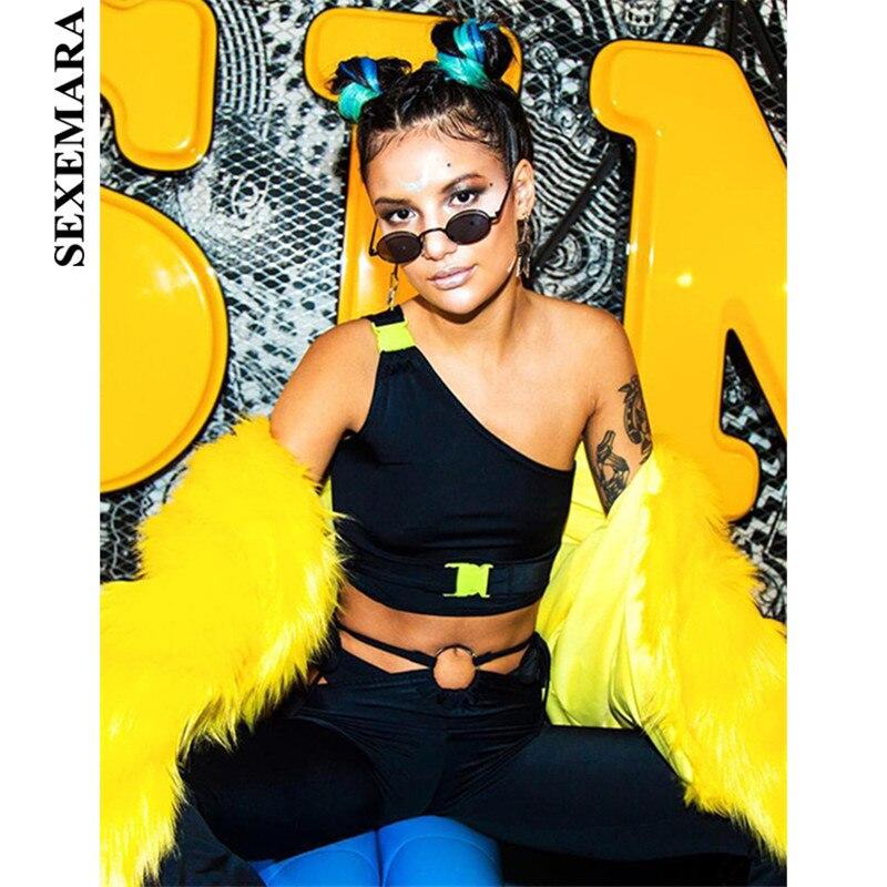 BOOFEENAA One Shoulder Buckle Neon Crop Tops Women Trendy Harajuku Streetwear 2019 Summer Backless Sexy Tank Top Tshirt C94-G33