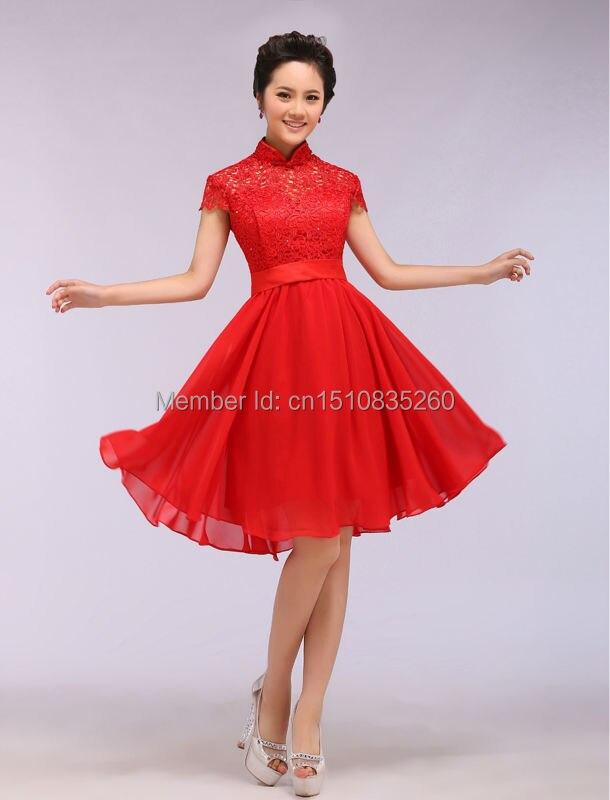 Short sleeve lace short skirt bottom wedding dinner dress the ...