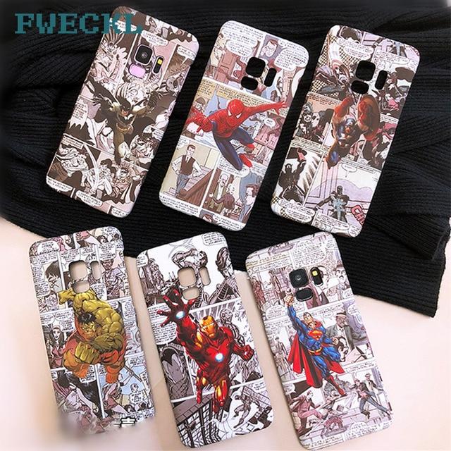 Capitão América Spiderman Homem de ferro Caixa Do Telefone Para Samsung S8 S9 Plus Nota 8 Luminosa Batman Superman Rígido de proteção PC cobrir