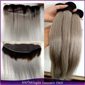 Ombre Silver Brazilian Virgin Hair 3Pcs With Lace Frontal Ombre Grey Hair Weave Straight Two Tone 1B/Gray Ombre Human Hair