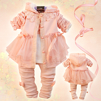 Baby Dress Set Children S Clothing Female Child 2013 Princess Lace Three Pieces Set Girl Baby