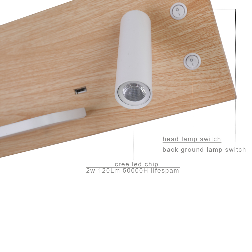 ZEROUNO lumière LED ampoules chambre veilleuses Style Simple monté en Surface lampes LED via 5V 2.1A Port USB 9V 1A Charge sans fil - 6