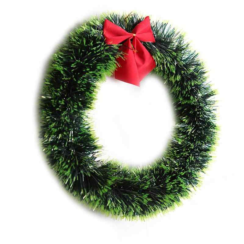 Christmas Green Wreath Decorative Garland With Bowknot Xmas Home Party  Decoration Christmas Tree Decor A9