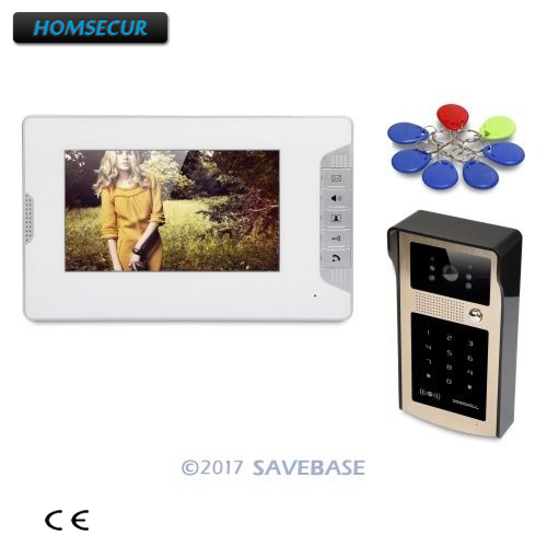 HOMSECUR 7inch Video Door Entry Security Intercom With One Button Unlock For House/ Flat
