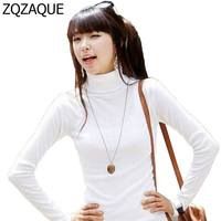 New Casual On Sale 2016 Hot Women S Autumn Velvet Turtleneck Long Sleeved Basic Shirts White