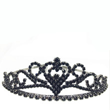 2016 new Hot Black gun black Dazzing Crystal Bridal Crown Rhinestone Heart Shaped Girl Tiara High Quality Dress Accessories