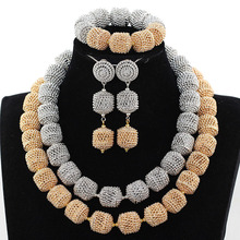 New Mix Silver Beads and Gole Beads Bridal Jewelry Sets 2 Layter African Fashion Jewelry Sets Free Shipping PJW137