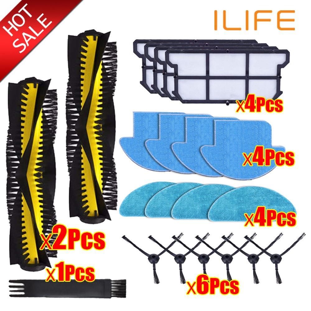 Kits de piezas Aspiradora Robótica sparts, Cepillo Lateral principal de rodillos, filtro de mopa de tela, Hepa para Ilife V7S pro v7s V7s plus V7