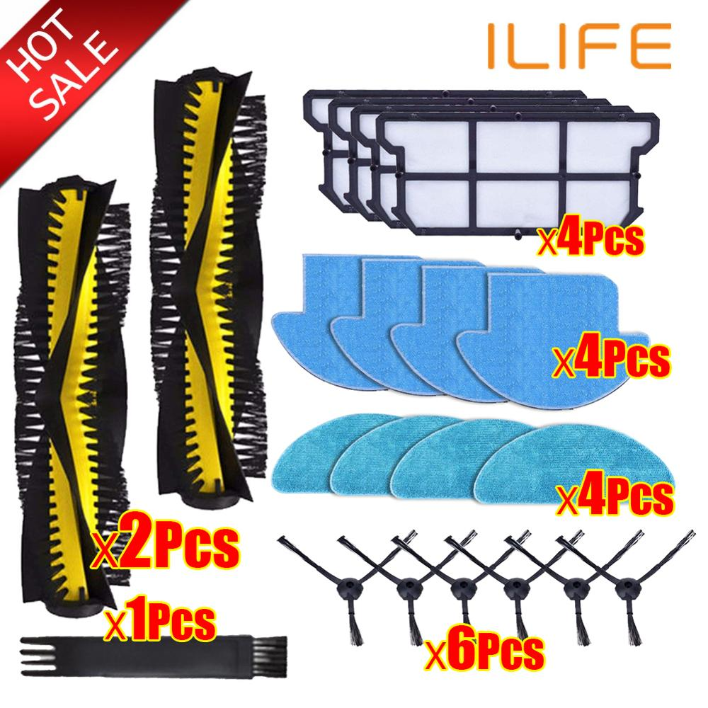 Robotic Vacuum Cleaner Sparts Parts Kits Roller Main Side Brush Cloth Mop Filter Hepa For Ilife V7S Pro V7s V7s Plus V7