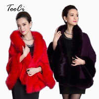 2015 High Quality Spring Winter Ladies Soft Cashmere Fox Fur Pashmina Shawl Knitted Wool Poncho Sweater