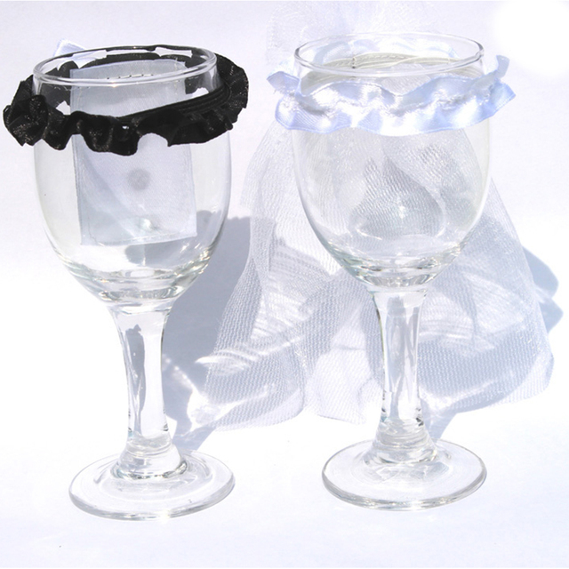 Wine Glasses Decor Ornaments Dress 1 Pair Bride Groom Bridal Veil