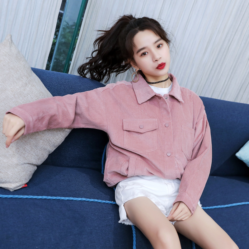 spring autumn new Female rose-colored corduroy   jacket   short paragraph women's casual loose blouse students Vintage   Basic     Jackets