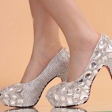 Einzigartige Funkelnden Kristall Diamant Hochzeit Brautschuhe High Heels Wasserdichte Sandale Party Prom Schuhe