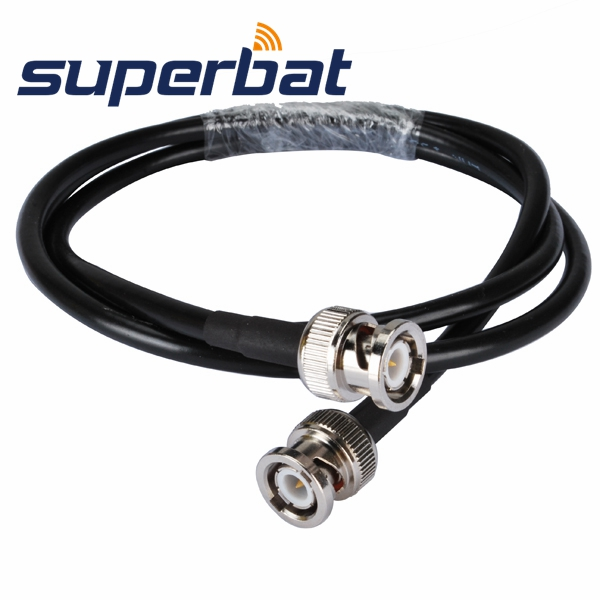 Superbat Audio Cable BNC Male Plug To BNC Plug Male Coaxial Pigtail Cable RG58 5 Ft (1.5M)