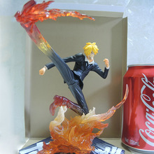 15.5CM One piece Sanji Action Figure Model Piece Anime Vinsmoke figure Black Leg Diable Jambe Fire Battle Version toys